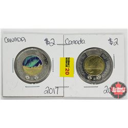 Canada Toonie Northern Lights 2017 - Strip of 2: Colorized ; Non Color