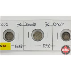 Canada Five Cent - Strip of 3: 1888; 1890; 1891