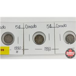 Canada Five Cent - Strip of 3: 1880H; 1881; 1888?