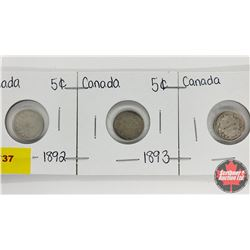 Canada Five Cent - Strip of 3: 1892; 1893; 1896