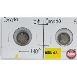 Canada Five Cent  - Strip of 2: 1909; 1910