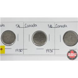 Canada Five Cent - Strip of 3: 1930; 1931; 1932