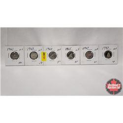 Canada Ten Cent - Strip of 6: 1961; 1963; 1964; 1965; 1967; 1987