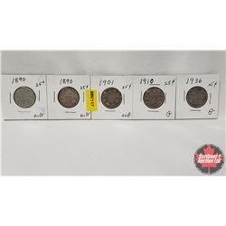 Canada Twenty Five Cent - Strip of 5: 1890; 1890; 1901; 1910; 1936