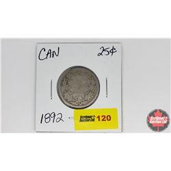 Canada Twenty Five Cent : 1892