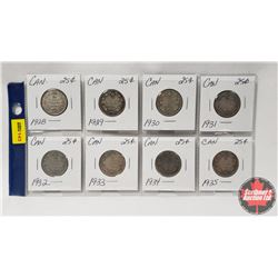 Canada Twenty Five Cent - Strip of 8: 1928; 1929; 1930; 1931; 1932; 1933; 1934; 1935