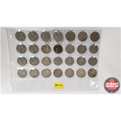 Canada Twenty Five Cent - Sheet of 28: 1937-1945; 1947ML(2); 1948-1952; 1953(2); 1954-1963