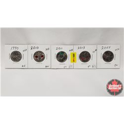 Canada Twenty Five Cent - Strip of 5: 1990; 2010; 2011; 2013; 2007