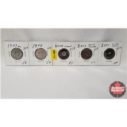 Canada Twenty Five Cent - Strip of 5: 1947ML; 1948; 2006; 2013; 2015