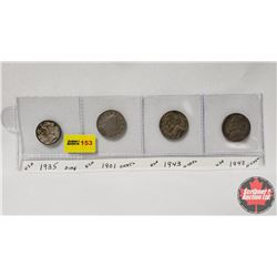 USA Coins - Strip of 4: 1935 Dime, 1901 Nickel, 1943 Nickel, 1943 Nickel
