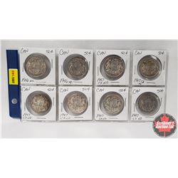 Canada Fifty Cent - Sheet of 8: 1946ND; 1946ND; 1947C7ND; 1947C7ND; 1947S7ND; 1947C7WD; 1947S7WD; 19