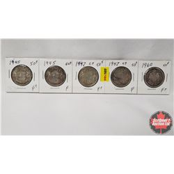 Canada Fifty Cent - Strip of 5: 1945; 1945; 1947C7; 1947C7; 1960