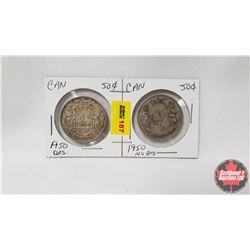 Canada Fifty Cent - Strip of 2: 1950Des & 1950 No Des
