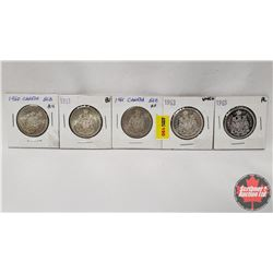 Canada Fifty Cent - Strip of 5: 1960; 1961; 1961; 1963; 1965