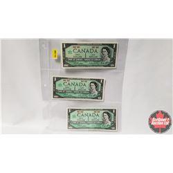 Canada One Dollar - Sheet of 3: 1967 (No S/N : Beattie/Rasminsky)