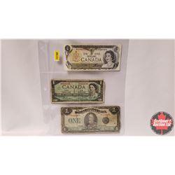Canada $1 Bills - Sheet of 3 : 1973 S/N#BCD3307375 Crow/Bouey ; 1967 S/N#HP8664596 Beattie/Rasminsky