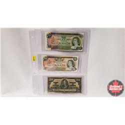 Canada $20 Bills - Sheet of 3 : 1969 Beattie/Rasminsky S/N#EE3650615 ; 1973 Thiessen/Crow S/N#567878