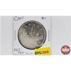 Canada Silver Dollar : 1951FWL