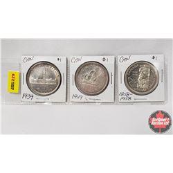 Canada Silver Dollar - Strip of 3: 1939; 1949; 1858-1958
