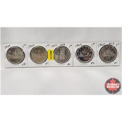 Canada Silver Dollar - Strip of 5: 1939; 1950; 1858-1958; 1963; 1965