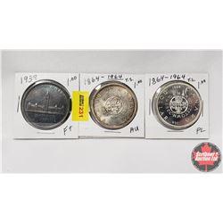 Canada Silver Dollar - Strip of 3: 1939; 1864-1964; 1864-1964