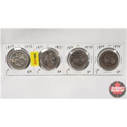 Canada One Dollar - Strip of 4: 1870-1970; 1871-1971; 1874-1974; 1874-1974