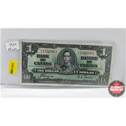 Canada $1 Bill : 1937 S/N#KN1542062 Coyne/Towers