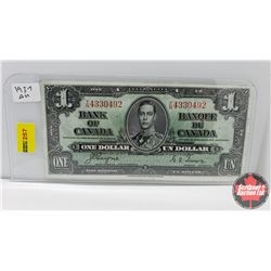 Canada $1 Bill : 1937 S/N#TN4330492 Coyne/Towers