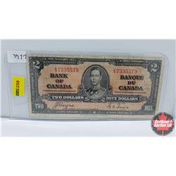 Canada $2 Bill : 1937 S/N#ER7335579 Coyne/Towers
