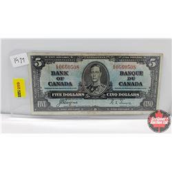 Canada $5 Bill : 1937 S/N#ES0660508 Coyne/Towers