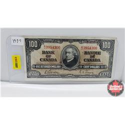 Canada $100 Bill : 1937 S/N#BJ3954300 Gordon/Towers