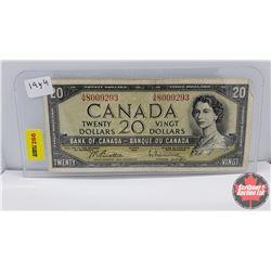 Canada $20 Bill : 1954 S/N#AW8009293 Beattie/Rasminsky