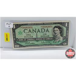Canada $1 Bill : 1967 Replacement S/N#*NO0182051 Beattie/Rasminsky