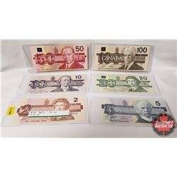 Canada Bird Series Bills (6) : 1986 $2 ; 1986 $5; 1989 $10; 1991 $20; 1988 $50; 1988 $100