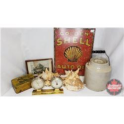 Box Lot : Nautical/Shell Theme: Conch Shell, The Puritan Cut Plug Tin, Pickle Crock w/Lid & Handle,