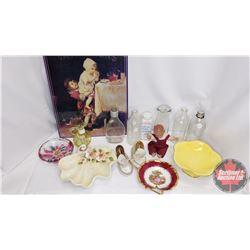 Box Lot : Repro Van Houten's Tin Sign, Baby Powder, Baby Bottles, Mini Moccasins, Doll, Variety Dish