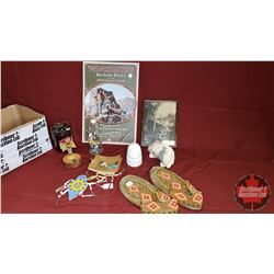 Box Lot : Repro Winchester Tin Sign, Beaded Moccasins, CPR Insulator, Autograph Book from 1930's, Ea