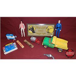 Box Lot - Toy Theme : Fisher Price, TV Radio, Toy Gun, Toy Trucks, Train Whistle, Repro Ives Toys Ti