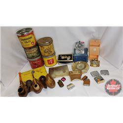 "Box Lot : Lighters, Variety Tobacco Tins, Matchbox Holder, ""The Universal Tank"" Metal Lighter, Desk"