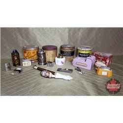 Box Lot : Variety Tobacco Tins, Ceramic Lighters, Swiss Motif Pipe, Matchbox Holder, etc