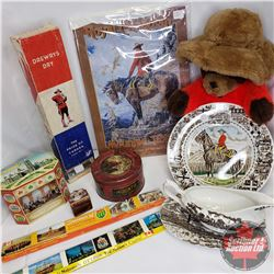 Box Lot - RCMP Theme : Plate, Stuffed RCMP Beaver, Gravy Dish Set, 2 Tins, Drewdrys Crystal Soda Box