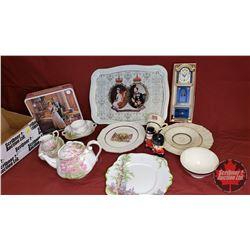 "Box Lot - Royalty/Monarch Theme : QEII Tin, Tray ""Meakin"", Jacobean Plate & Cup, Royal Albert ""Bloss"