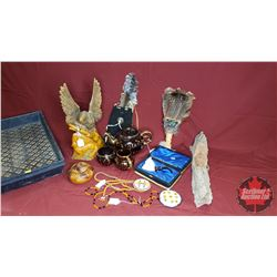 Tray Lot : Wooden Eagle Carving, Wood Face Carving, Feathers, Bead Necklaces, Wooden Bowl, Eagle Pip