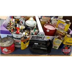 Tray Lot : Variety Household Oil Tins & 2 Multi Tools, etc