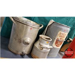 Collector Combo : Metal Butter Churn & Coconut Oil 5 Gal Pail & Flour Sack & Small Cream Can