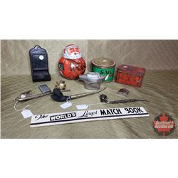 Box Lot : Tobacco Tins (including Rolly Polly Santa), Match Box Holder, Pipes, Lighters, etc