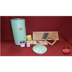 Green Flour Bin & Contents (2 Cabbage Cutters & 3 Confection Tins)