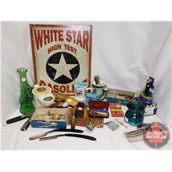 Box Lot - Gentlemen's Theme : Repro White Star Gas Sign, Insulators, Shaving Mugs, Bullet Lighter, B