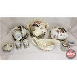 Tray Lot : 12 Tea Cups & Saucer Sets, S&P, Gravy Boat, etc