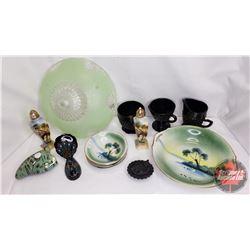 Tray Lot - Green/Black Theme : Glass Light Shade, Berry Bowls, S&P, Cream & Sugar, Black Cat on Nest